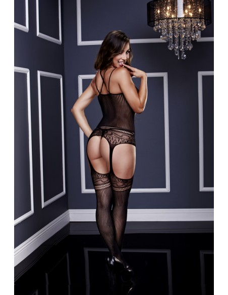 Bodystocking Jaquard Lace Suspender S/M/L - Baci