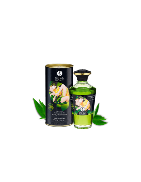 Grelno užitno masažno olje okus Zelenega čaja Shunga Aphrodisiac Warming Oil