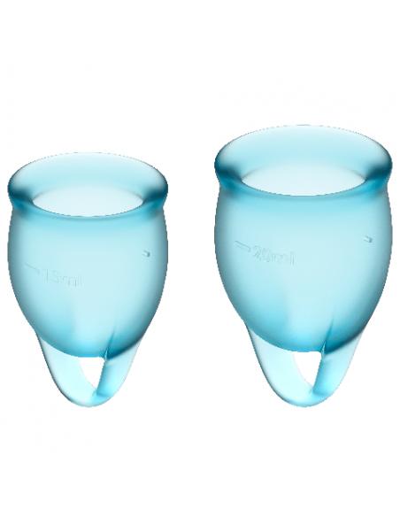 Dve Menstrualni skodelici 15ml + 20 ml Satisfyer Feel Confident Blue