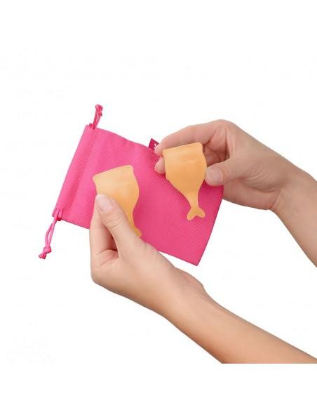 Dve Menstrualni skodelici 15+20 ml Satisfyer Feel Secure Orange