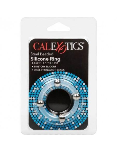 Erekcijski obroček Calex steel beaded silicone ring
